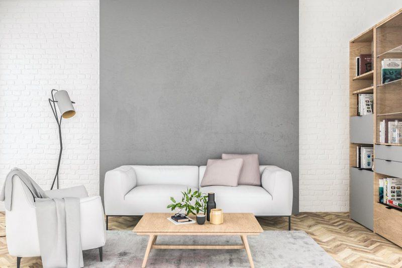 sivo-biela obývačka