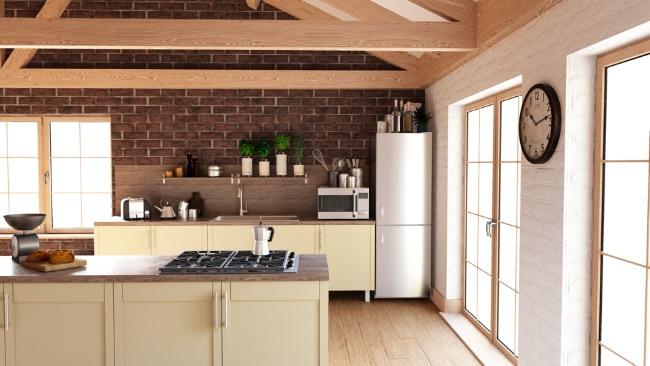 kuchyňa s hnedým obkladom