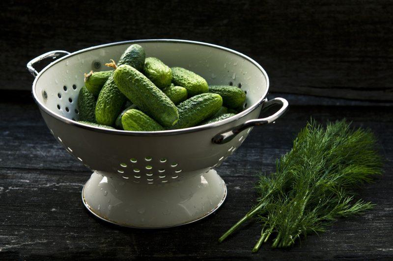 uhorky v sitku a kôpor